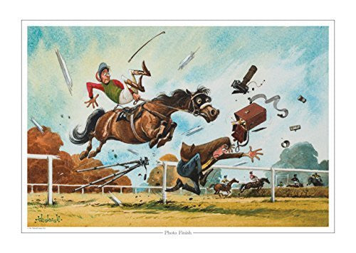 Photo Finish Horse Racing print by Norman Thelwell. Collector's print. Copi...