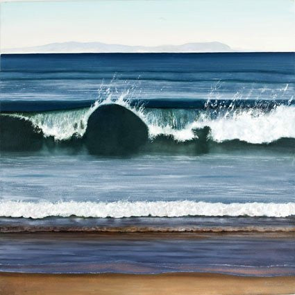 West Coast Wave art landscape or seascape greeting card by Heather Blanchard