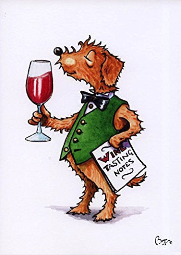 """Pickle Wine Tasting"" cartoon dog with glass of red wine, greeting card with envelope by artist Bryn Parry. Perfect for wine fanatics"