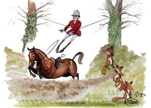 Horse riding greeting card by Bryn Parry. Roped In