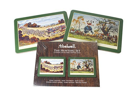 Thelwell Hunting Serving Mat Set. 2 assorted melamine mats with cork backs, f...