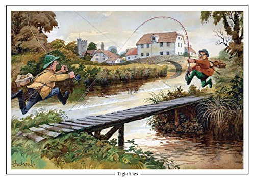 """Tight Lines"" by Norman Thelwell A5 Fishing Greeting Card with Envelope"