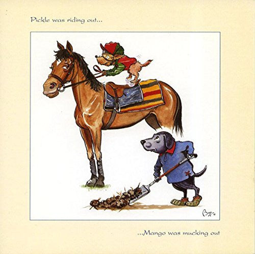 Horse riding greeting card by Bryn Parry. Pickle was riding out....