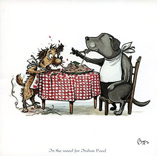 """In the mood for Italian Food"" Cooking and dining themed greeting card with envelope by Bryn Parry. Features cartoon dogs sat at dinner table eating spaghetti."