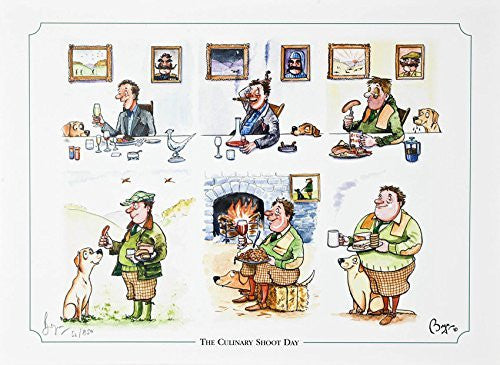 """The Culinary Shoot Day"" Pheasant shooting or hunting themed, cartoon, limited edition and signed original print by Bryn Parry."