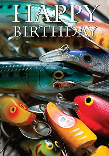 Fishing Lures Birthday Card by Charles Sainsbury-Plaice
