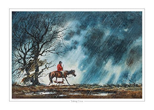 Cartoon pony and hunting print. Taking Cover by Norman Thelwell.