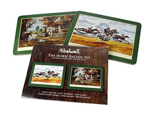 Thelwell Horse Racing Serving Mat Set. 2 assorted melamine mats with cork bac...