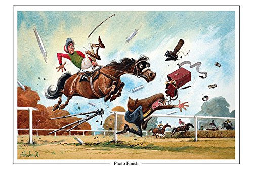 "Horse Racing Greeting Card ""Photo Finish"" by Norman Thelwell"
