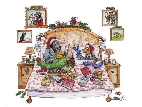 """Christmas Morning"" Christmas greeting card by renowned dog and country sports cartoonist Bryn Parry"