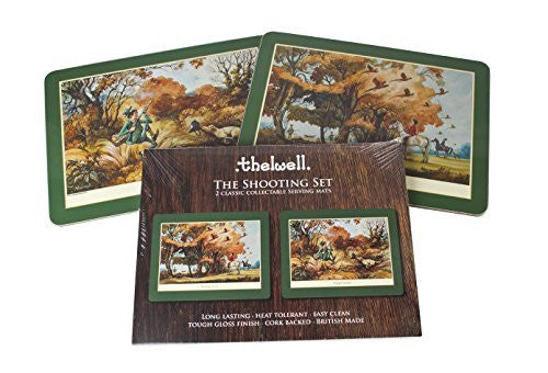 Thelwell Shooting Serving Mat Set. 2 assorted melamine mats with cork backs, ...