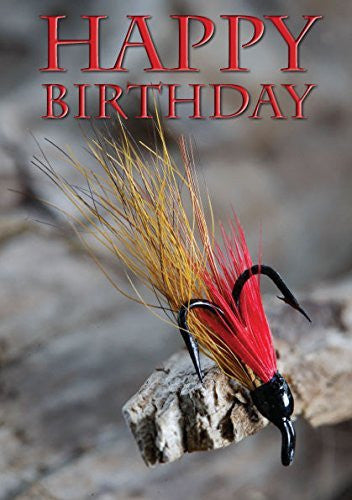 Salmon Fly, Fishing, Birthday Card by Charles Sainsbury-Plaice