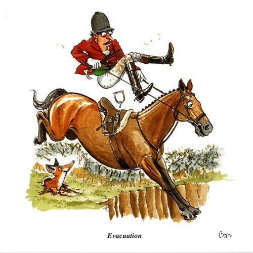 Horse riding greeting card by Bryn Parry. Evacuation.