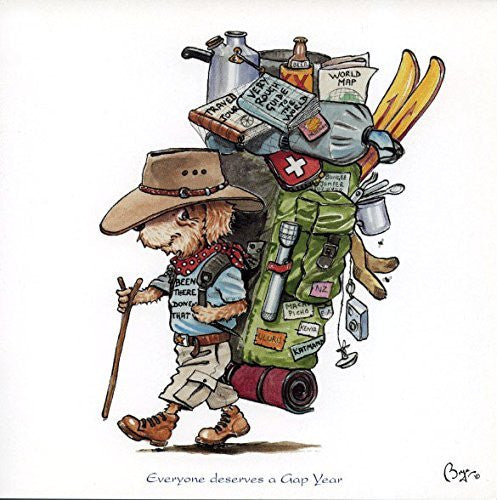 """Everyone deserves a gap year"" travel, hiking themed greeting card with envelope by Bryn Parry. Features cartoon dog with heavily loaded ruck sack"