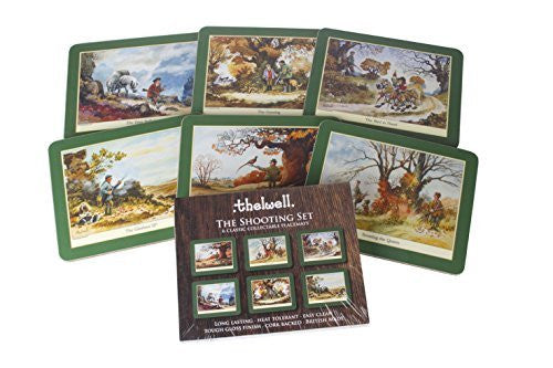 Thelwell Shooting Placemat Set. 6 assorted melamine mats with cork backs, fea...