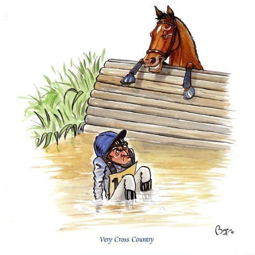 Horse riding greeting card by Bryn Parry. Very Cross Country