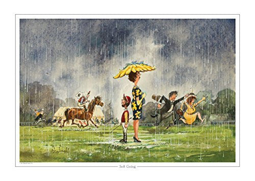Soft Going Horse Racing print by Norman Thelwell. Collector's print. Copied...
