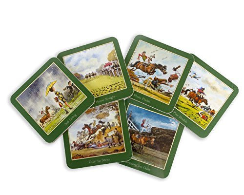 Set of six Thelwell Horseracing Coasters