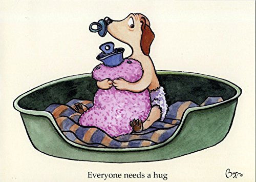 """Everyone needs a hug"" cartoon labrador puppy, greeting card with envelope by artist Bryn Parry."
