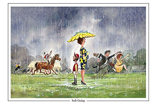 "Horse Racing Greeting Card ""Soft Going"" by Norman Thelwell"