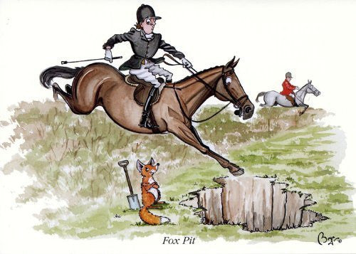 Horse riding greeting card by Bryn Parry. Fox Pit