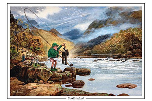 salmon fishing cartoon greeting card