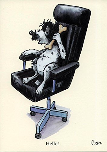 """Hello"" cartoon cocker spaniel in office chair, greeting card with envelope by artist Bryn Parry."