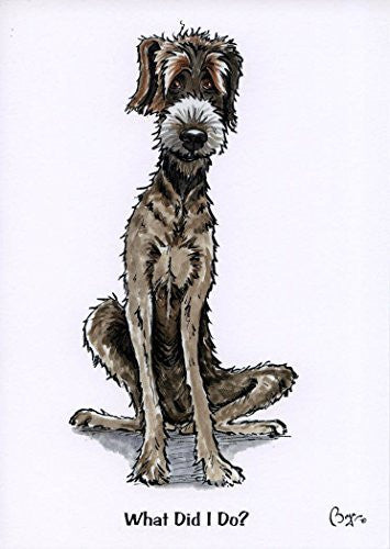 """What did I do"" cartoon lurcher type, dog greeting card with envelope by artist Bryn Parry"