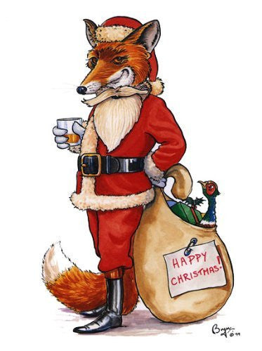 Undercover Fox Christmas Card with envelope Large A5 size. Cartoon of fox dressed as Santa by iconic hunting and country sports artist Bryn Parry.