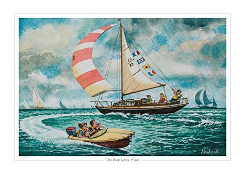 The Four Letter Word Sailing print by Norman Thelwell. Collector's print. C...