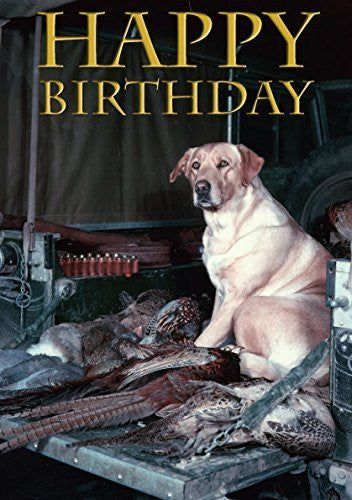 Vintage Labrador Birthday Card. Yellow Labrador in back of Shoot Land Rover- ...