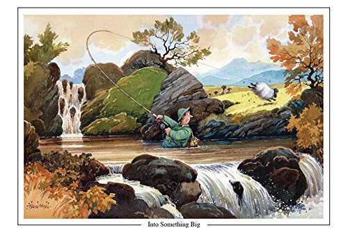 """Into Something Big"" by Thelwell. Large A5 salmon or trout fishing themed greeting card with envelope. Great gift accessory for the fisherman"