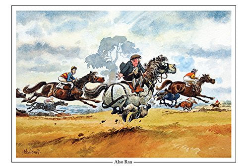 """Also Ran"" by Thelwell. Horse racing or point to point themed greeting card. Large A5 size. Perfect gift for horse lovers."