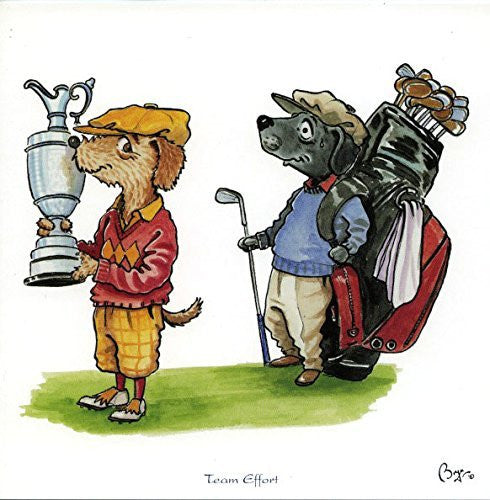 """Team Effort"" Golf greeting card with envelope by Bryn Parry. Features cartoon dogs in golfing attire"