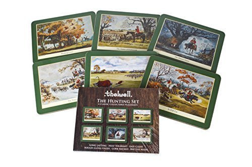 Thelwell Hunting Placemat Set. 6 assorted melamine mats with cork backs, feat...