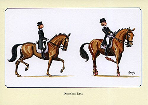 Horse riding notecards by Bryn Parry. Dressage Diva
