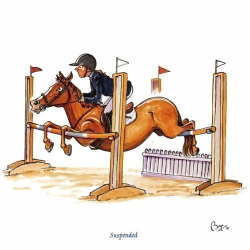 Horse riding greeting card by Bryn Parry. Suspended