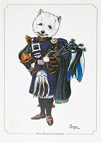 """West Highland Terrier"" dog and hunting themed, cartoon, limited edition and signed original print by Bryn Parry. Perfect gift for the downstairs loo, study, kitchen etc. Limited run of 850 only and signed and numbered by the artist."