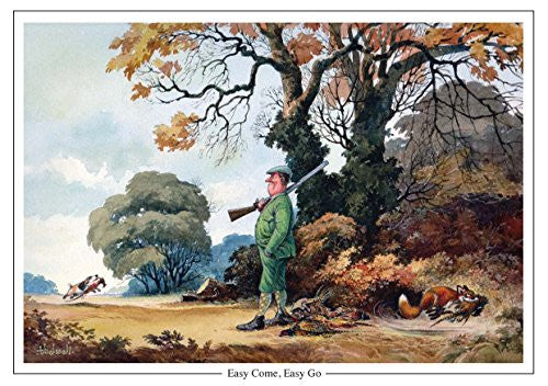 """Easy Come, Easy Go"" by Norman Thelwell A5 shooting greeting card with envelope"
