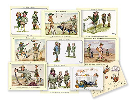 10 Mixed Shooting notecards with envelopes. Featuring iconic cartoon sporting images by Bryn Parry. A great shooting or hunting gift. Perfect for Thank you letters, invites etc