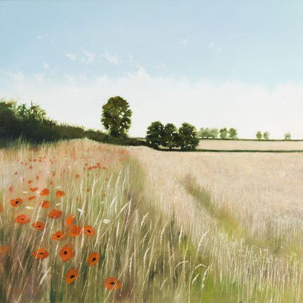 Headland Poppies art landscape greeting card by Heather Blanchard. Beautiful English summer rural scene