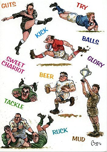 Rugby themed greeting card with envelope by artist Bryn Parry. Features cartoons and rugby terms. Blank on the inside perfect for many occasions