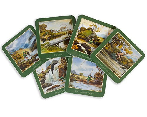 Set of six Thelwell Fishing Coasters.