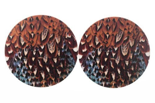 Pheasant plumage design drinks coasters MkII x2. A great shooting gift. Tough melamine finish.