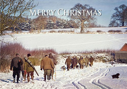 """Guns and Beaters"" shooting and country themed Christmas Card by Charles Sainsbury-Plaice. Large A5 size with envelope."