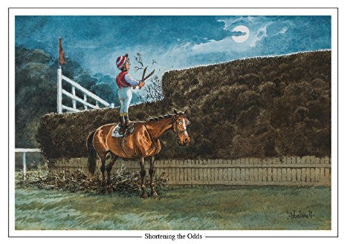 "Horse Racing Greeting Card ""Shortening the Odds"" by Norman Thelwell"