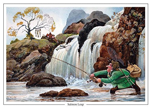 Salmon fishing cartoon greeting card by Thelwell