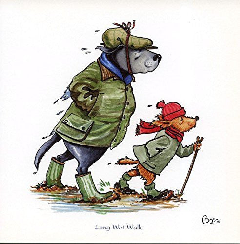 """Long wet walk"" walking or rambling themed greeting card with envelope by Bryn Parry. Features cartoon dogs in walking gear"