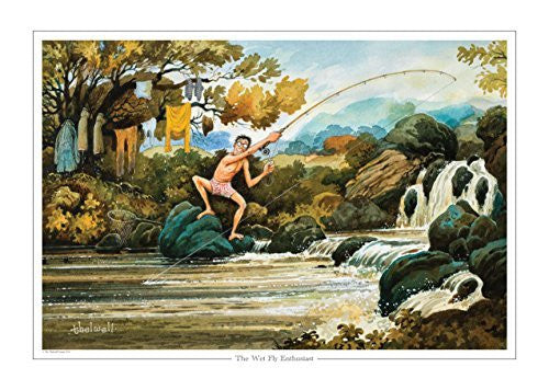 Fun cartoon salmon fishing print. The Wet Fly Enthusiast by Thelwell.