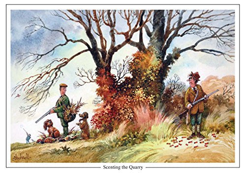 """Scenting the Quarry"" by Thelwell. Large A5 shooting and dog greeting card with envelope. Great gift accessory for the hunter or shooter"